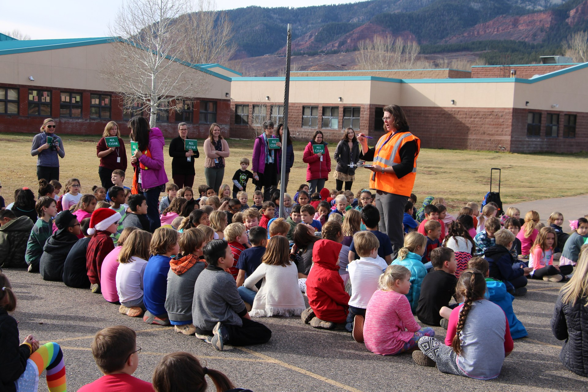 Image of students in evacuation drill at Animas Valley Elementary.