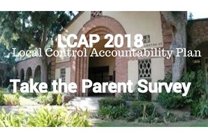 District office with text LCAP Take the Parent Survey