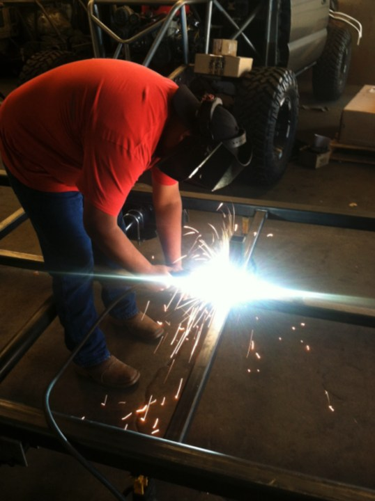 Student welding.