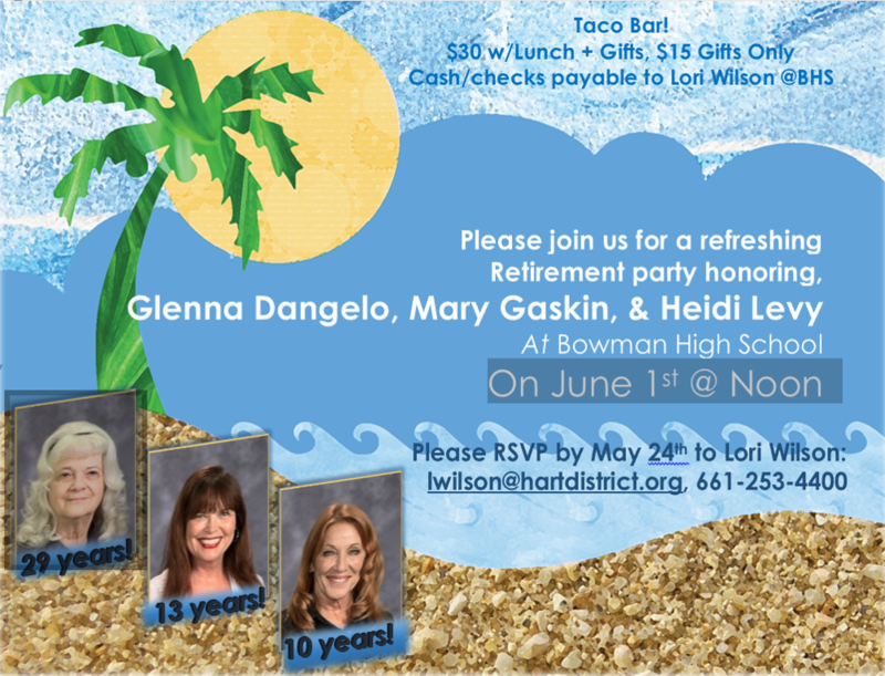Retirement Flyer for Glenna, Mary & Heidi
