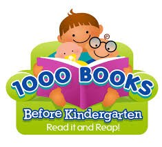1,000 Books Before Kindergarten logo.  A child, toddler, and baby sitting together in a chair reading a book.