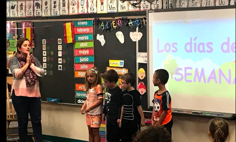 Spanish Dual Language Immersion Class.  Teacher and students.