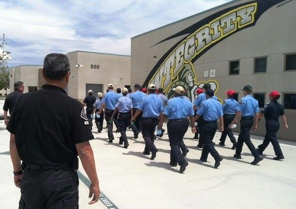 Police Explorers marching on campus