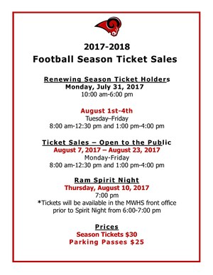 Football season tickets dates and prices available beginning July 31