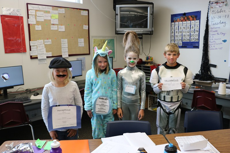 Students in their vocabulary day costumes.