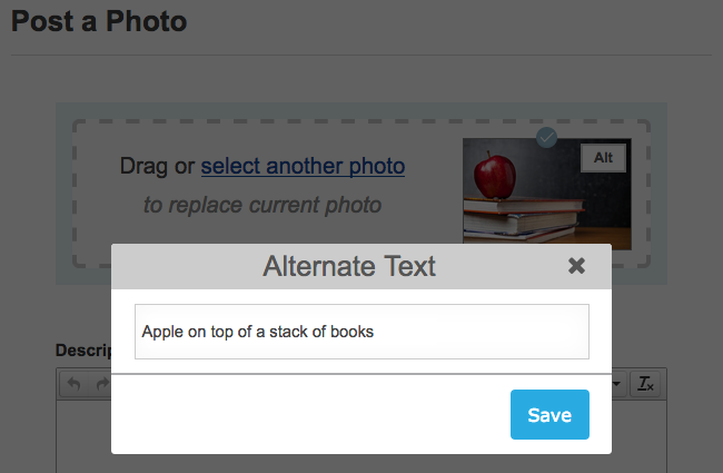 add alternative text to Post a photo