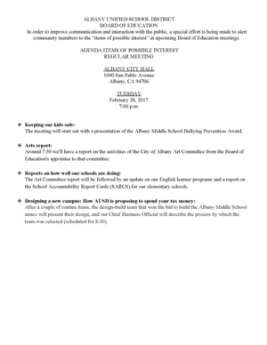 Agenda Items of Possible Interest Regular Meeting 2/28/17 (click for info)
