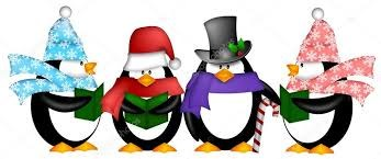 four penguins in hats and scarves caroling