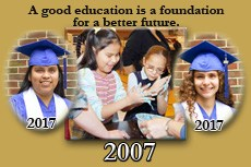 Thumbnail image: Two elementary girls at their science fair project in 2007 and fading in on the sides their 2017 graduation portraits