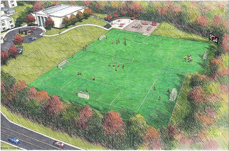 rendering of James River Day School field improvements
