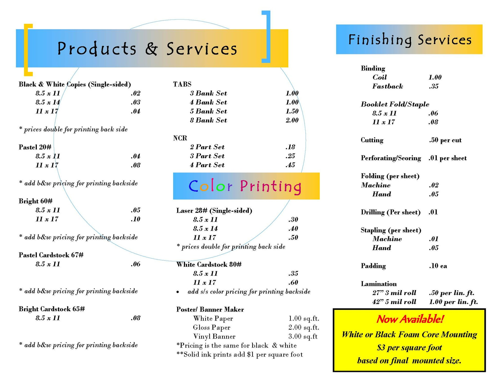 Products & Services list