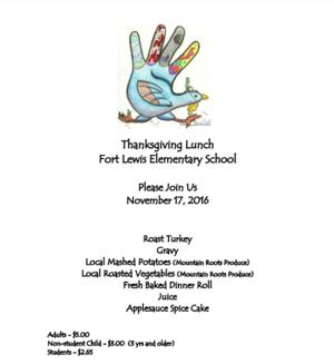 Screenshot of the Turkey Dinner Menu flyer.
