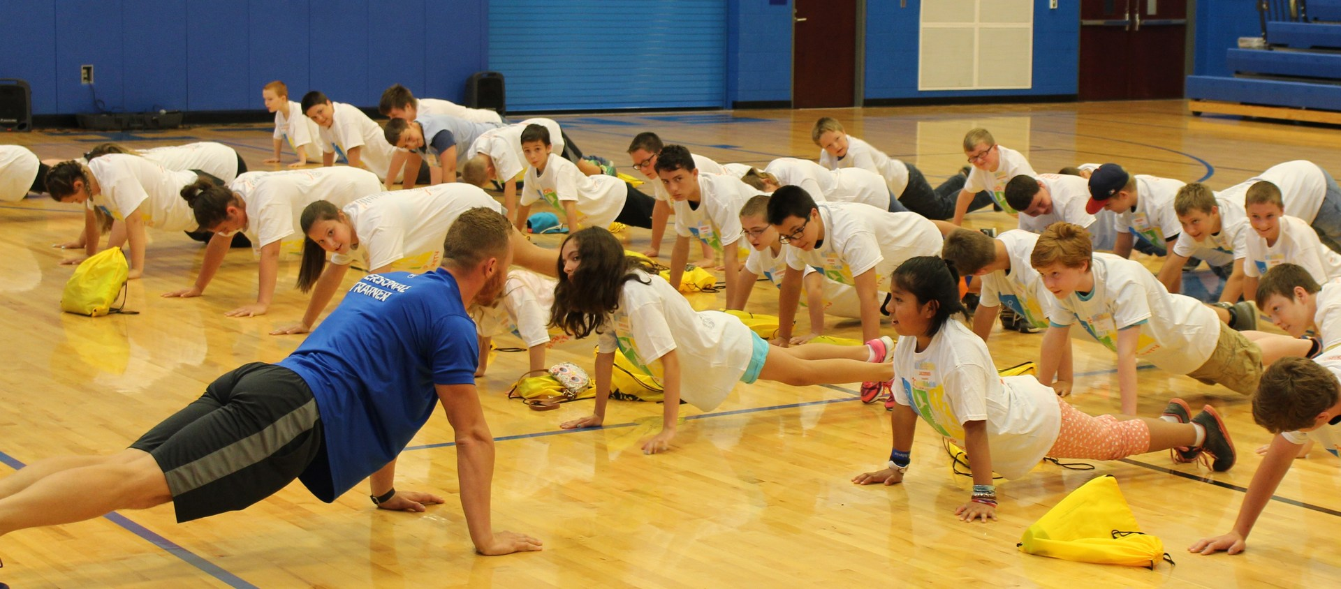 Students participating in fitness activities
