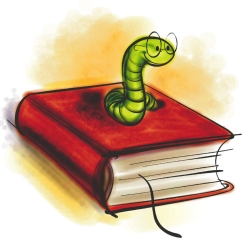Book with worm coming out