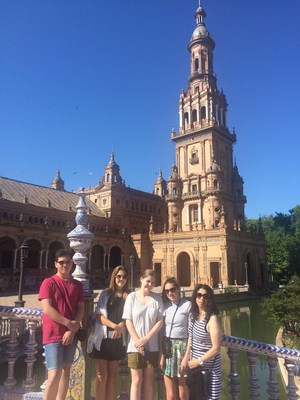 Trip to Spain (from left to right: Neo, Leah, Hannah, Ariel, and Ms. Ortiz)