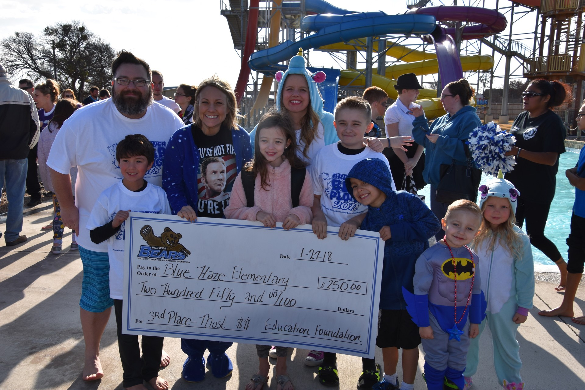 Blue Haze Elementary was the 3rd place winner in the BRRRewer Bear Plunge fundraiser.