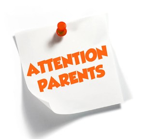 sticky note with Attention Parents written on it