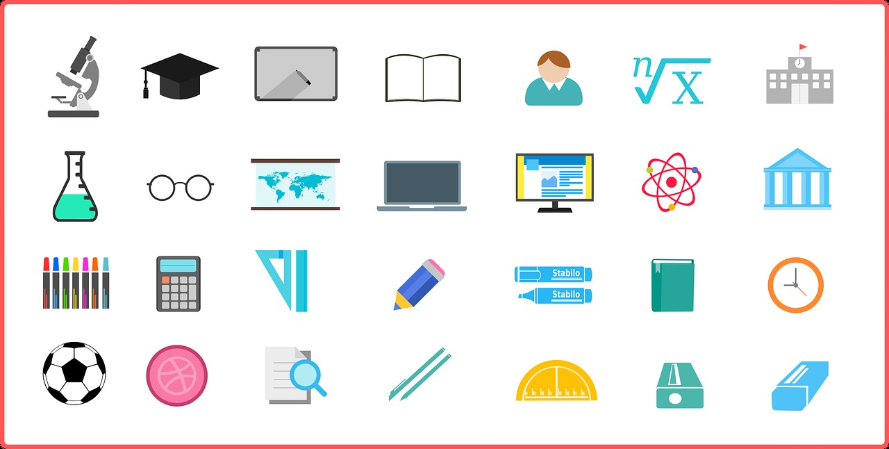 Icons of classroom items