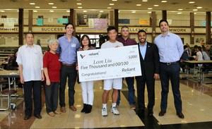 Leon Liu with his family Briggs Webster from NRG_ Houston Texan JJ Moses_Principal Dr. Brandon Garza.jpg