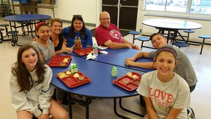 livia Giordano, Kaylee James, Emily Kern, Roger Argoe and Abbie Dickinson sit with Jeanette Riggitano and Carlos Covarrubias.jpg