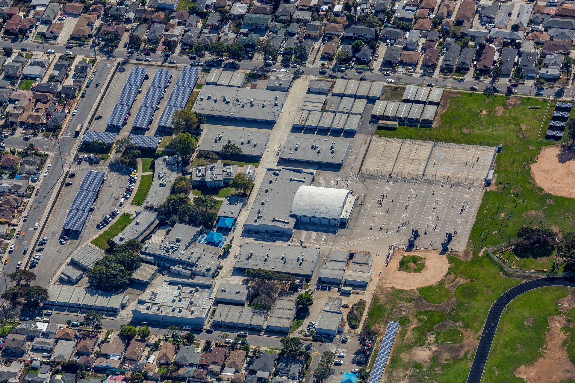 overhead view of Lennox Middle School with solar panels