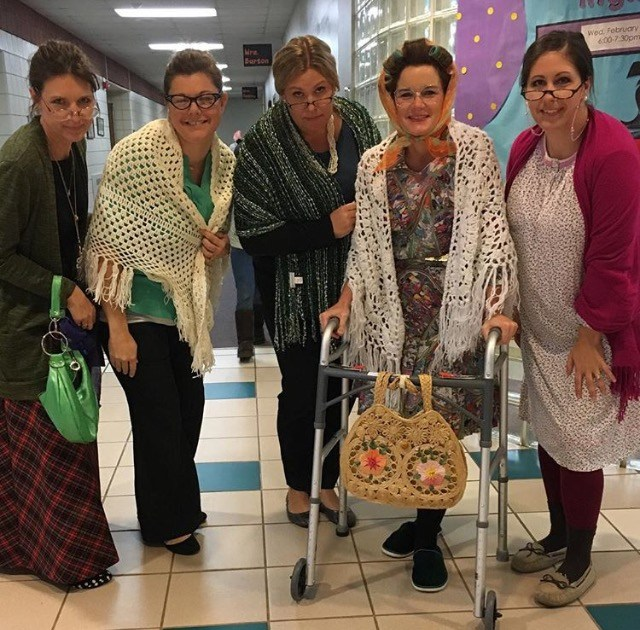 Teachers dressed up for 100th day of school.