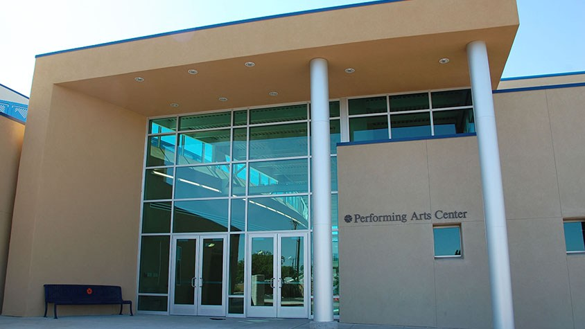 Front of the Sandia Prep Performing Arts Center