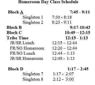 Homeroom Day Class Schedule