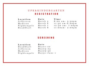 Registration and Screening for UPK and Kindergarten Dates and Times
