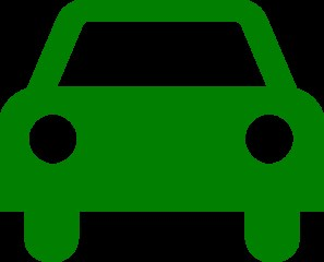 Clip art of a green car against a black background.