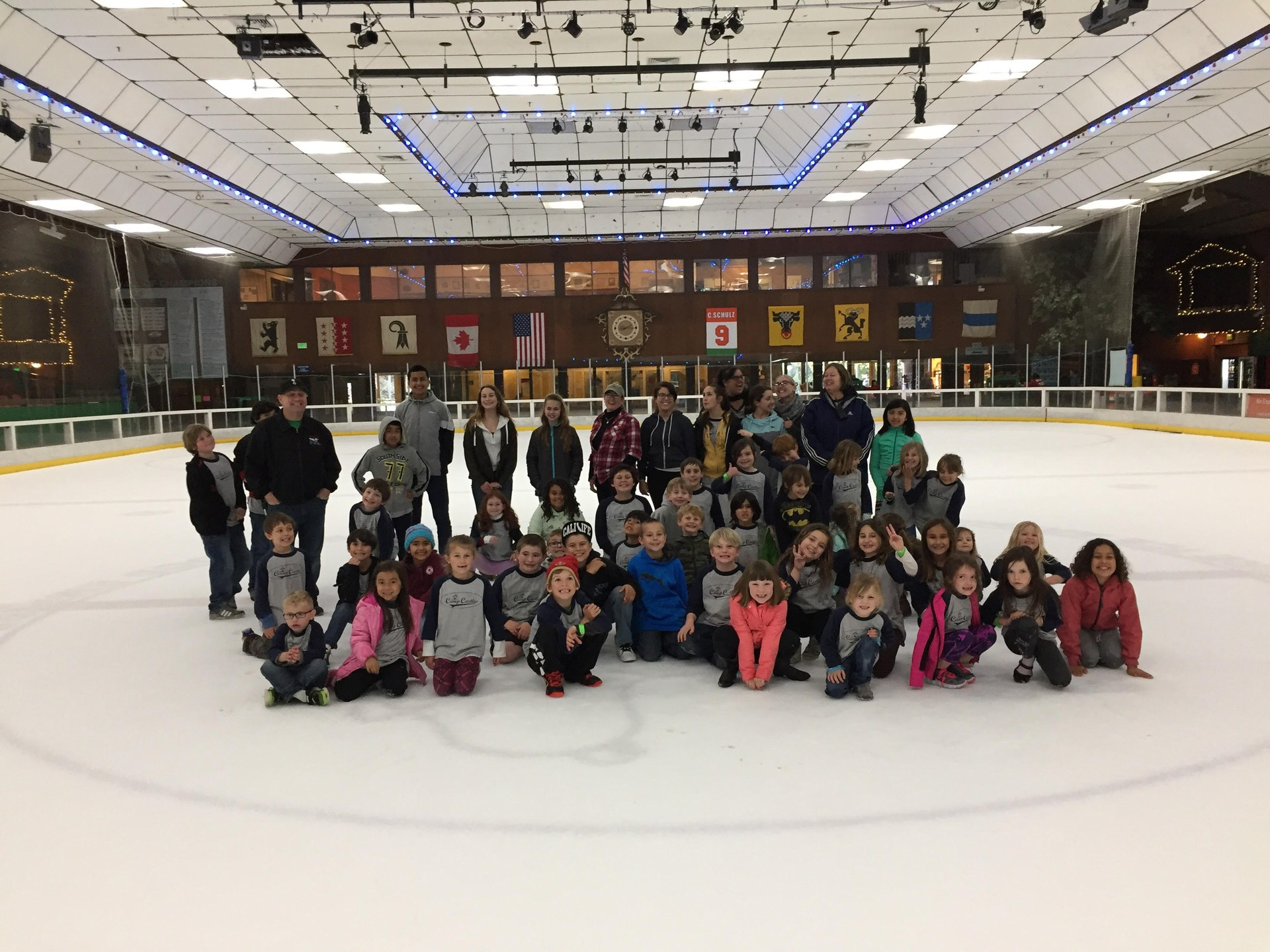 Students at ice rink