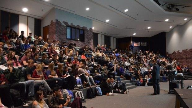Students listening to Senior Seminar Presentation