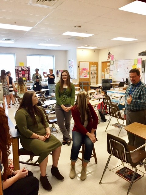 North Wilkes High students practicing interview skills