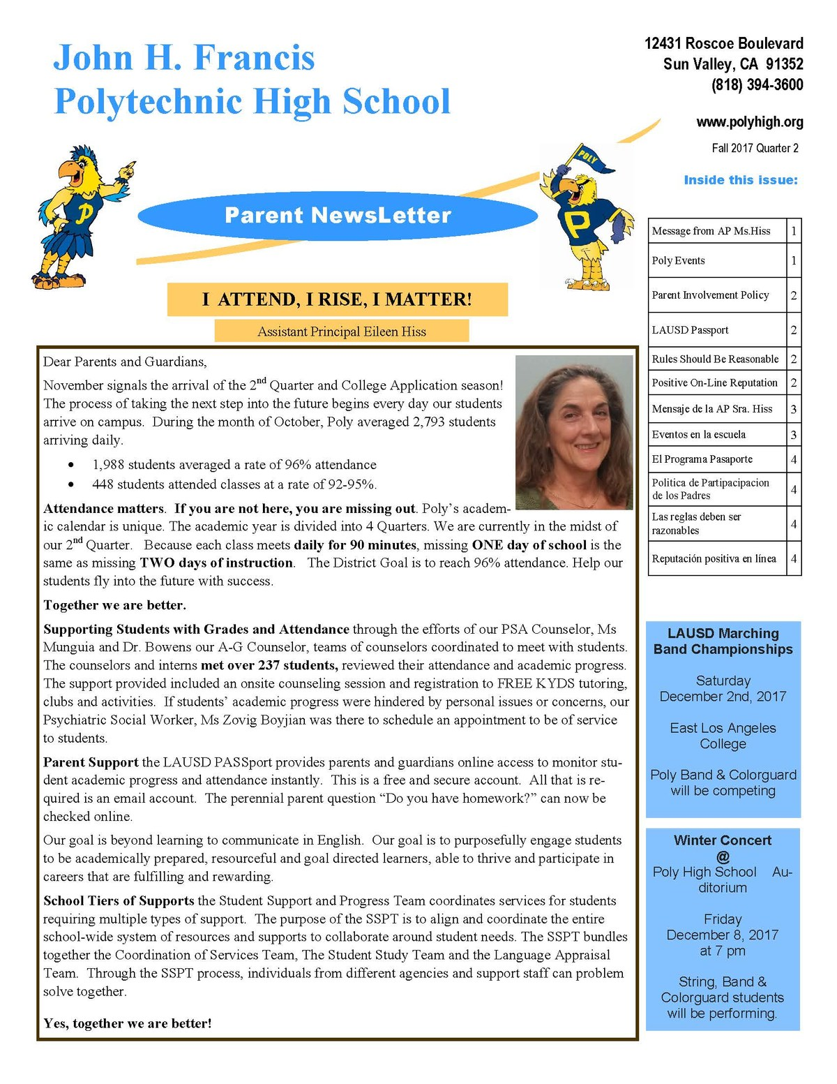 Parent Newsletter fall quarter 2 2017