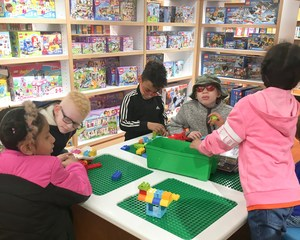 students playing at the bookstore.