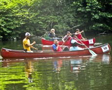 Summer Recreation - kids in canoes