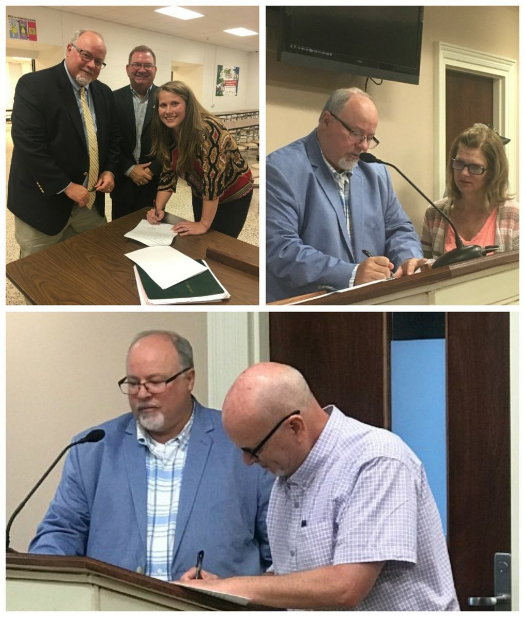 Collage photo showing pictures of Mr. McGee signing contracts with new employees.
