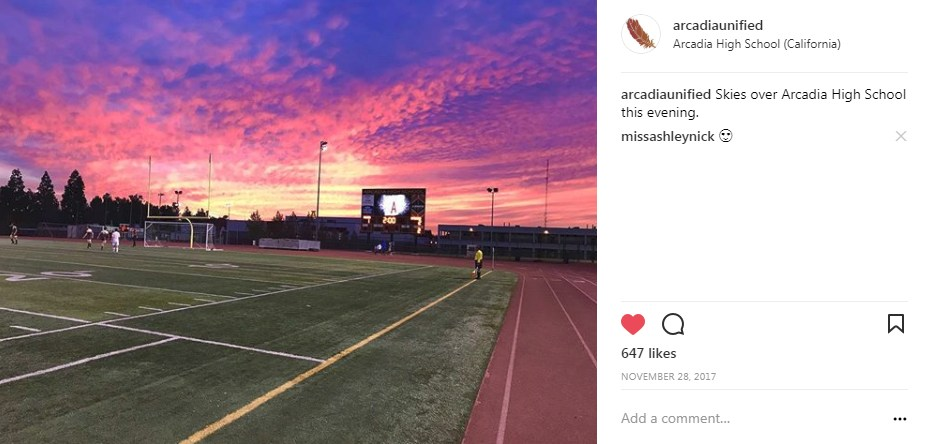 Screenshot from Arcadia Unified Instagram