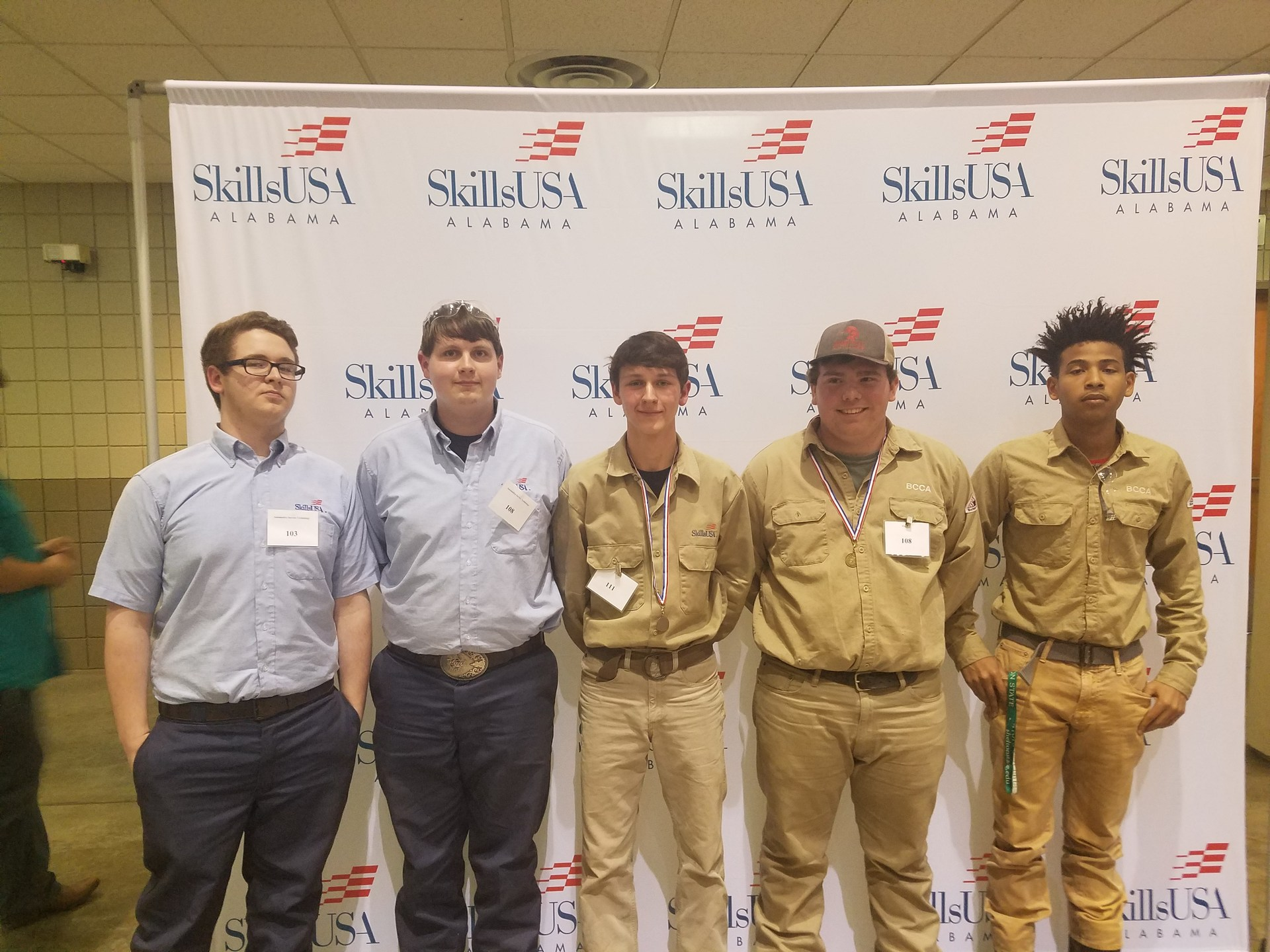 Auto and welding students at SkillsUSA district competitions 2017.