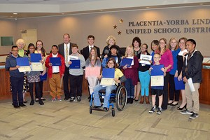 PYLUSD Special Olympians at Board meeting