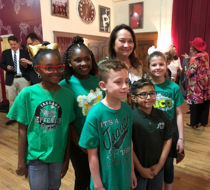 Cecilia Abbott with Jefferson Students