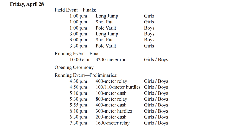 Region II-1A Track and Field Schedule (April 28-29) Thumbnail Image