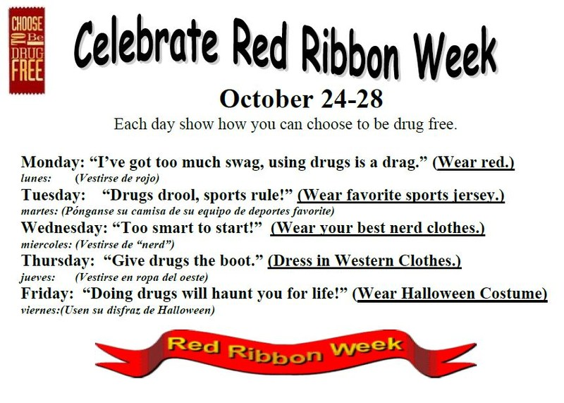 Red Ribbon Week schedule of events