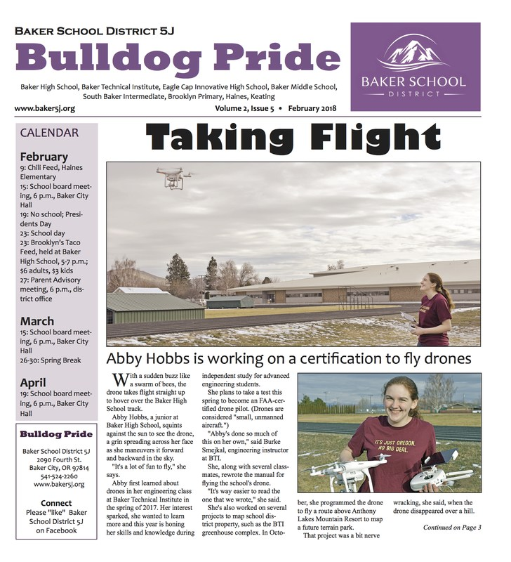 Front page of the Bulldog Pride.