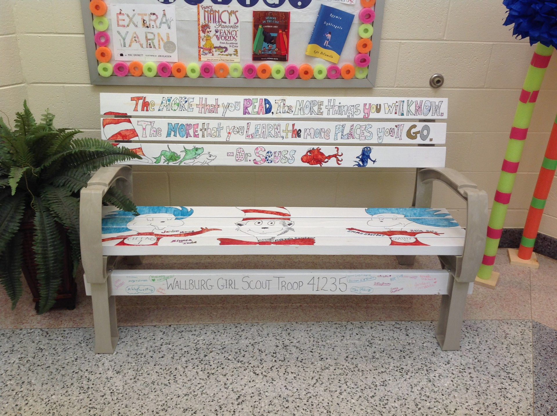 Dr. Seuss Bench made by Girl Scouts