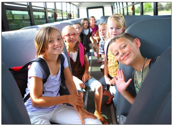photo of students on bus