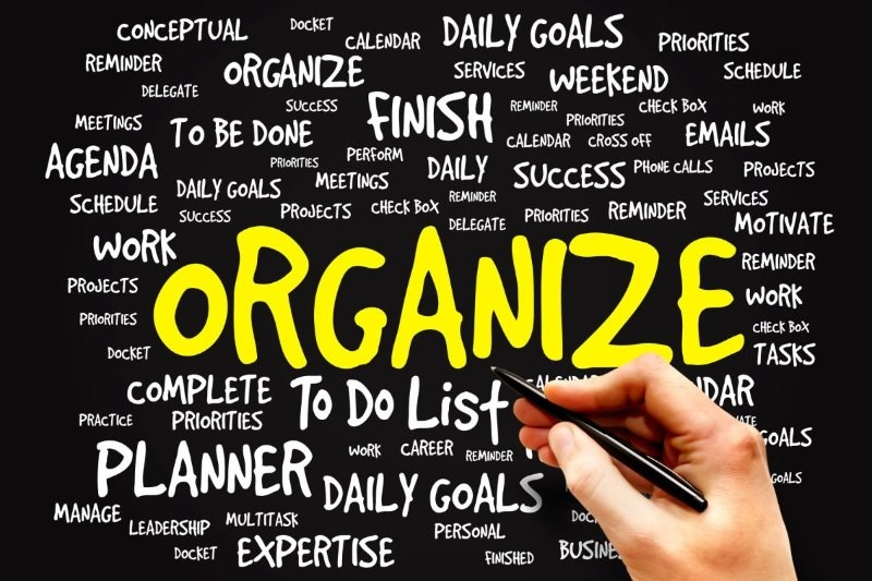Graphic with various words in background dealing with the theme of 'organize'