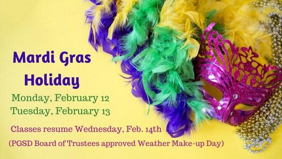 No School Monday, February 12 - Tuesday, February 13, 2018. Classes resume Wednesday, February 14th.