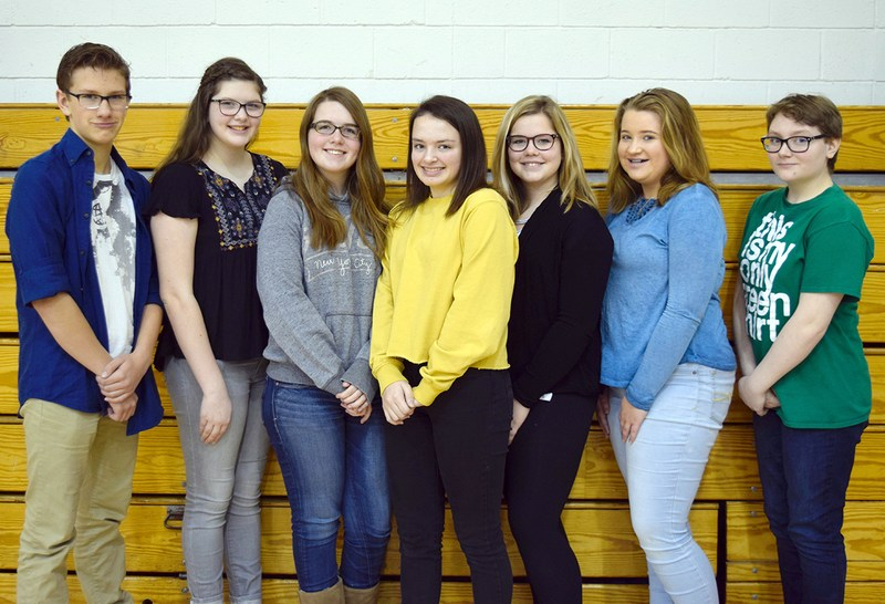Seven students posing for a photo.