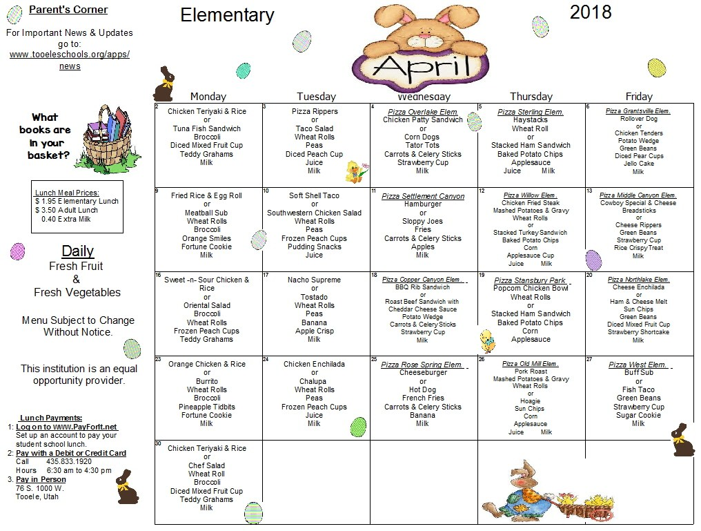 April Elementary Lunch